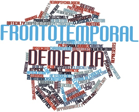 frontal lobe: Abstract word cloud for Frontotemporal dementia with related tags and terms Stock Photo