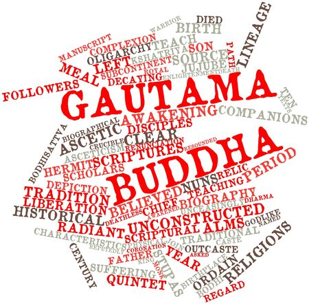 reputed: Abstract word cloud for Gautama Buddha with related tags and terms