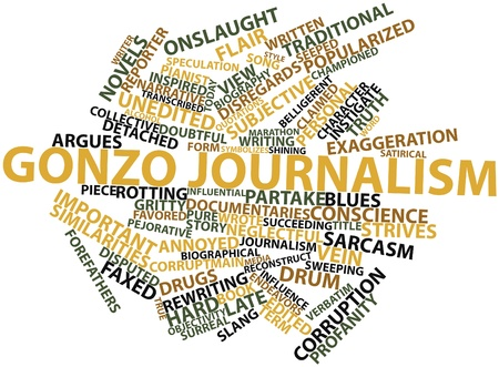 slang: Abstract word cloud for Gonzo journalism with related tags and terms