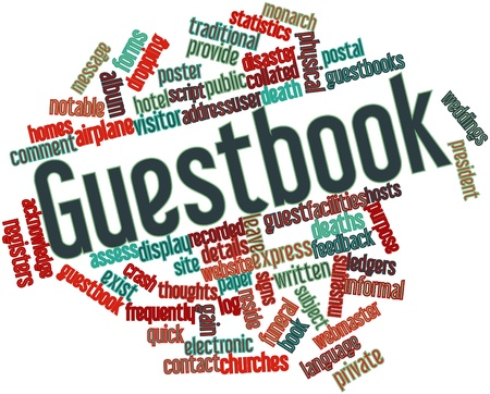 Abstract word cloud for Guestbook with related tags and terms Stock Photo - 16633020