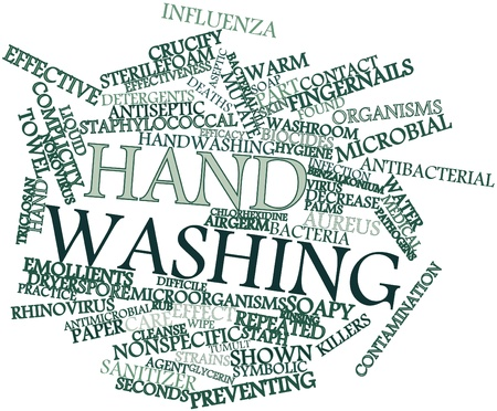 preventing: Abstract word cloud for Hand washing with related tags and terms Stock Photo
