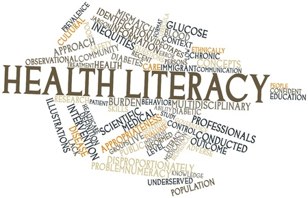 poor health: Abstract word cloud for Health literacy with related tags and terms Stock Photo