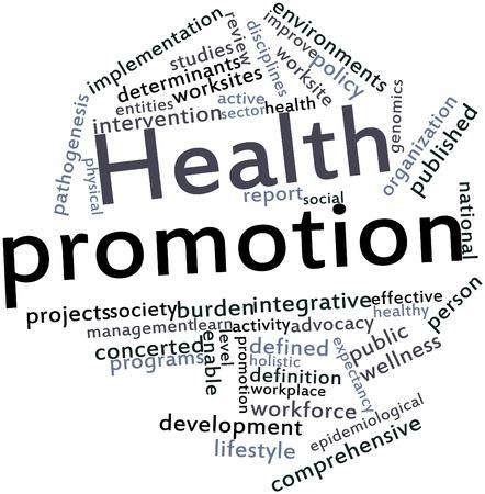 interventie: Abstract woordwolk voor Gezondheidsbevordering met gerelateerde tags en voorwaarden Stockfoto