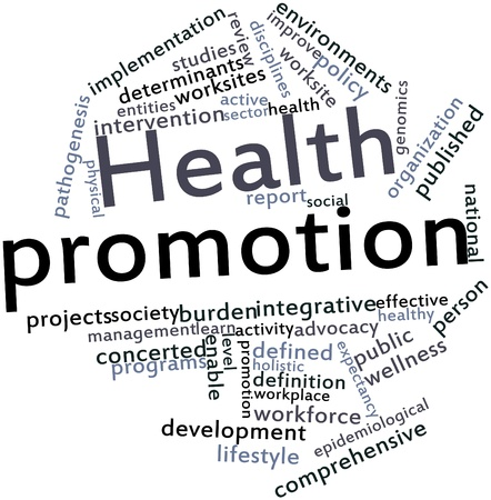 salud publica: Nube palabra abstracta para promoción de la salud con las etiquetas y términos relacionados