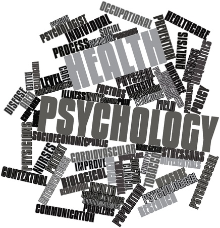 Abstract word cloud for Health psychology with related tags and terms photo