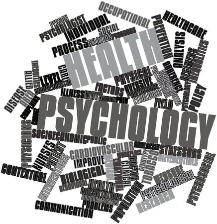 contextual: Nube palabra abstracta para Psicolog�a de la salud con las etiquetas y t�rminos relacionados Foto de archivo