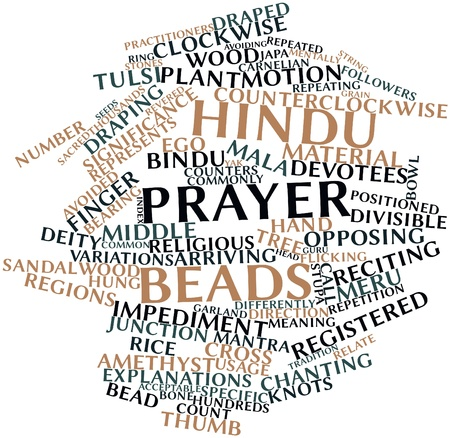 stupa: Abstract word cloud for Hindu prayer beads with related tags and terms Stock Photo