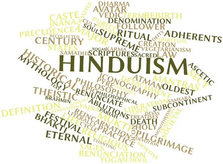 Abstract word cloud for Hinduism with related tags and terms