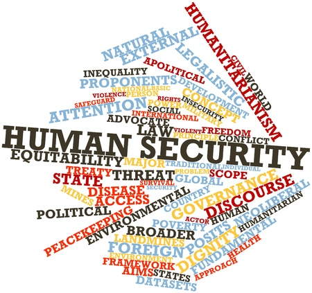 proponents: Abstract word cloud for Human security with related tags and terms Stock Photo
