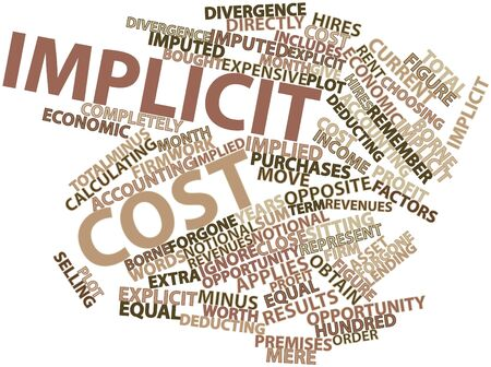 implied: Abstract word cloud for Implicit cost with related tags and terms Stock Photo
