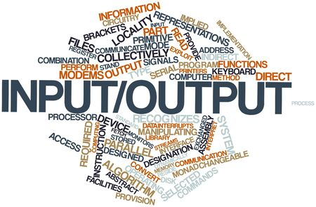 implied: Abstract word cloud for Inputoutput with related tags and terms Stock Photo