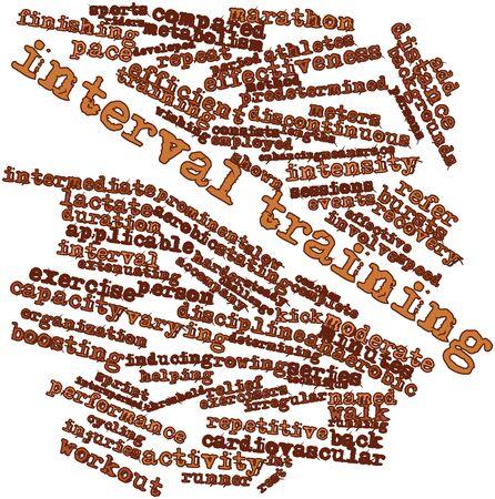 関連するタグと用語とインターバル トレーニングの抽象的な単語雲