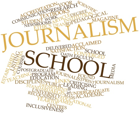 internationally: Abstract word cloud for Journalism school with related tags and terms Stock Photo