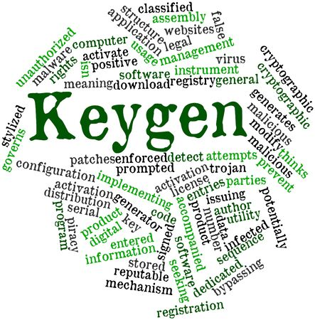 Abstract word cloud for Keygen with related tags and terms