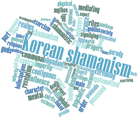 overseer: Abstract word cloud for Korean shamanism with related tags and terms