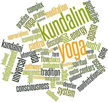 bliss: Abstract word cloud for Kundalini yoga with related tags and terms Stock Photo