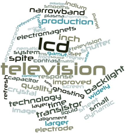 contrast resolution: Abstract word cloud for LCD television with related tags and terms Stock Photo