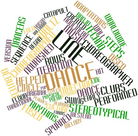 accompanied: Abstract word cloud for Line dance with related tags and terms Stock Photo