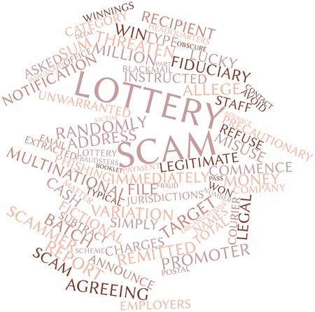 fake money: Abstract word cloud for Lottery scam with related tags and terms