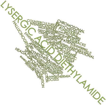 amide: Abstract word cloud for Lysergic acid diethylamide with related tags and terms