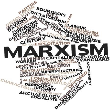 humanismo: Nube palabra abstracta para el marxismo con las etiquetas y términos relacionados