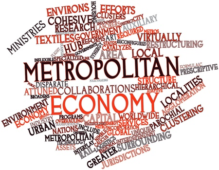 public service: Abstract word cloud for Metropolitan economy with related tags and terms