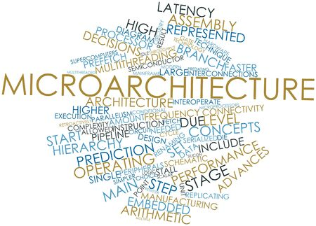 Abstract word cloud for Microarchitecture with related tags and terms Stock Photo - 16631288