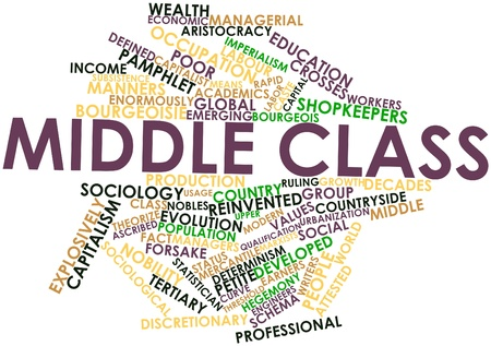 Abstract word cloud for Middle class with related tags and terms