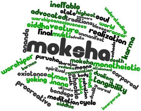 experiential: Abstract word cloud for Moksha with related tags and terms Stock Photo