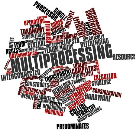 concurrent: Abstract word cloud for Multiprocessing with related tags and terms Stock Photo