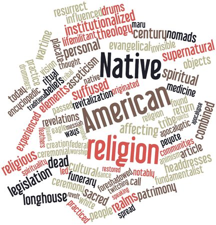 encyclopedic: Abstract word cloud for Native American religion with related tags and terms Stock Photo