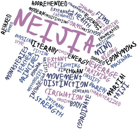 Abstract word cloud for Neijia with related tags and terms Stock Photo