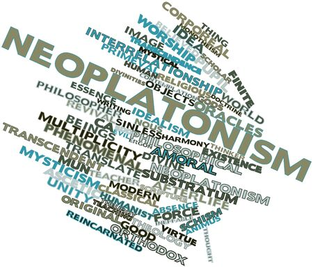 monotheism: Abstract word cloud for Neoplatonism with related tags and terms Stock Photo