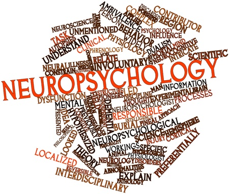 workings: Abstract word cloud for Neuropsychology with related tags and terms Stock Photo