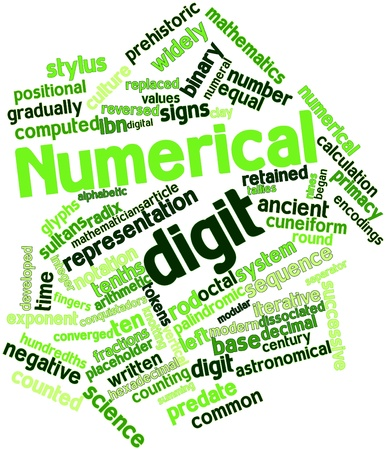 obtained: Abstract word cloud for Numerical digit with related tags and terms
