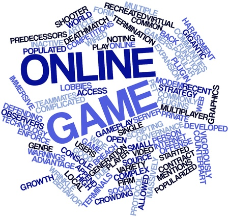 online game: Abstract word cloud for Online game with related tags and terms
