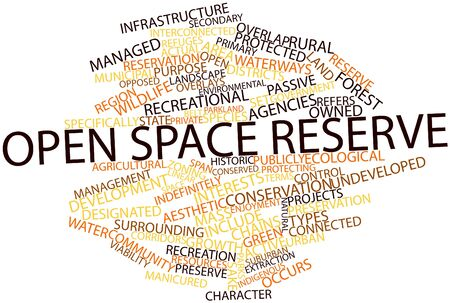 state owned: Abstract word cloud for Open space reserve with related tags and terms Stock Photo
