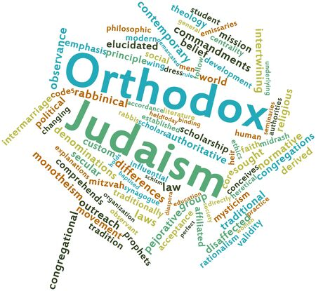 Abstract word cloud for Orthodox Judaism with related tags and terms Stock Photo - 16631760