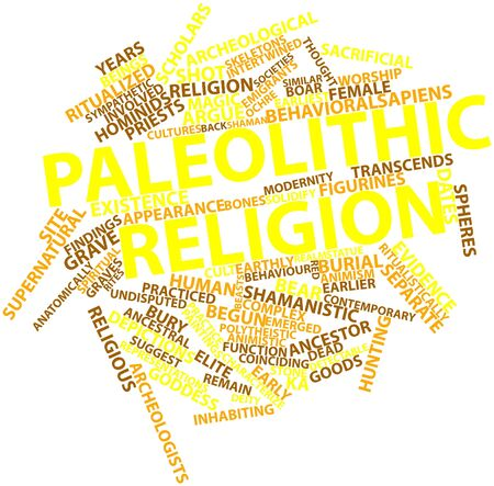 paleolithic: Abstract word cloud for Paleolithic religion with related tags and terms Stock Photo