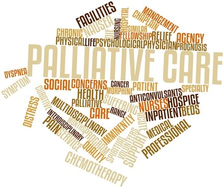 Abstract word cloud for Palliative care with related tags and terms photo