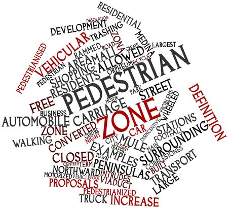 southward: Abstract word cloud for Pedestrian zone with related tags and terms Stock Photo