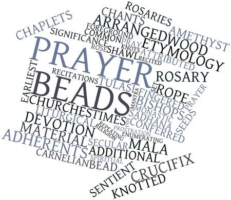 groupings: Abstract word cloud for Prayer beads with related tags and terms