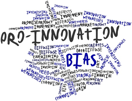 bias: Abstract word cloud for Pro-innovation bias with related tags and terms