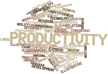 relaciones laborales: Nube palabra abstracta para la Productividad con las etiquetas y términos relacionados