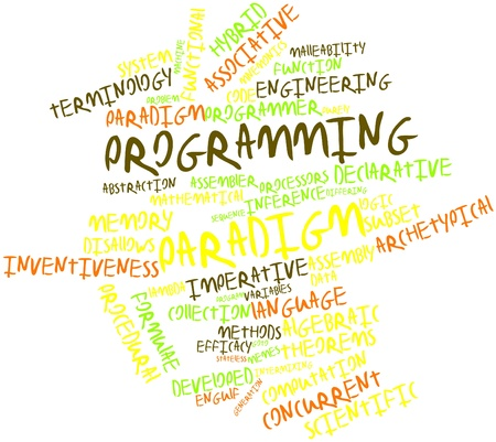 engulf: Abstract word cloud for Programming paradigm with related tags and terms Stock Photo