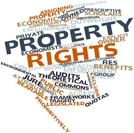 outweighs: Nube de la palabra abstracta de los derechos de propiedad con las etiquetas y t�rminos relacionados
