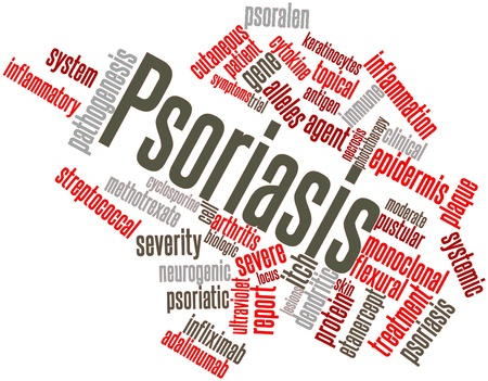 pathogenesis: Abstract word cloud for Psoriasis with related tags and terms