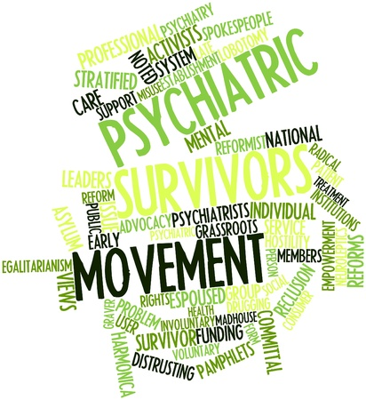 perceived: Abstract word cloud for Psychiatric survivors movement with related tags and terms Stock Photo