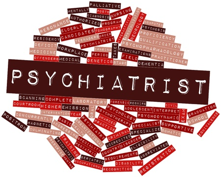 specialities: Abstract word cloud for Psychiatrist with related tags and terms
