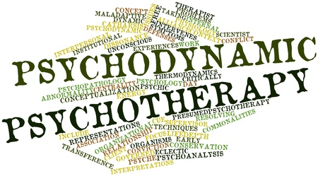 intervention: Abstract word cloud for Psychodynamic psychotherapy with related tags and terms